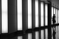 Between the lines (The Green Album) Tags: lighting bw woman london lines silhouette doors fuji interior 55 bakerstreet atrium openhouse xe1