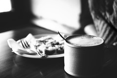 Would you like to have chai latte with me? (mrpase) Tags: blackandwhite bw photography prague kaffeepause chailatte tamron1750 sonyalpha550 stammtischnovember