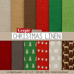 """Christmas linen digital paper: """"CHRISTMAS LINEN"""" with linen backgrounds and textures in christmas holiday colors red, green, brown and grey (workyourart) Tags: christmas holiday digital paper holidays linen background patterns backgrounds"""
