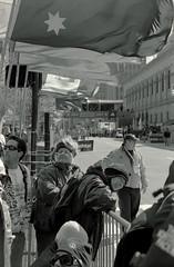 Finish Line (dtanist) Tags: film boston analog 50mm pentax kodak marathon massachusetts line finish spectators smc ricoh bw400cn pentaxm xrm