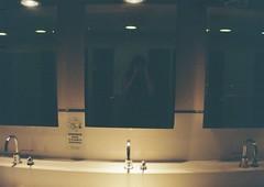 meet me in the bathroom (iamtheatombomb) Tags: light film girl night 35mm bathroom mirror analogue selfie