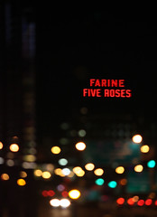 Friday night lights up the Farine Five Roses (yossimtl) Tags: street urban abandoned sign night lights downtown montral bokeh montreal landmark outoffocus farine fiveroses yossimtl