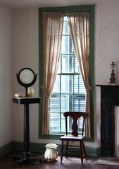 Vanity (Samantha Evans of Samantha Evans Photography) Tags: wood light shadow brown sun sunlight white black building green history window glass lines yellow wall architecture corner canon buildings dark circle table gold mirror wooden chair fireplace floor crystal architecturaldetail curtain vanity plaster molding ceiling line container round shutters hearth marble brass pitcher plank windowsill planks refection sheer westville repeatingpatterns lumpkin livinghistorymuseum repeatingpattern tamron1750 canon60d lumpkinga
