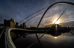 Sunlight. (CWhatPhotos) Tags: pictures above camera bridge light sky sun sunlight fish eye digital pen river newcastle that lens lite four photography foot evening focus day skies foto with view image artistic cloudy footbridge pics side wide over january picture millenium pic olympus images tyne millennium quay gateshead fisheye have photographs photograph walkway fotos micro manual 35 olympuspen which span fit contain 43 quayside thirds tilting 2014 f35 75mm spanning mft samyang esystem sanyang cwhatphotos epl5