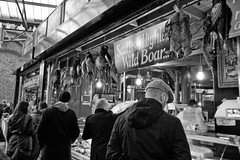 Game Fare (Biggleswade Blue) Tags: wild england bw food white black game rabbit london dead angle flat pheasant market 10 traditional wide sigma stall meat butcher cap hanging borough rabbits 20 tradition 1020 hang boar fare fayre infocus highquality {vision}:{sky}=0544 {vision}:{outdoor}=0745 {vision}:{mountain}=0536
