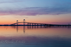 Newport Bridge (Ron Stella) Tags: sunset reflection water reflections harbor dusk rhodeisland newport getty gettyimages newportbridge claibornepellbridge