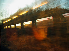 Journey into the Unknown (Batikart) Tags: travel trees windows winter light vacation sky plants holiday motion art speed train canon reflections germany landscape geotagged deutschland licht movement europa europe day fen