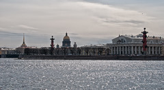 Old Saint Petersburg Stock Exchange and Rostral Columns (world's views) Tags: travel buildings stpetersburg russia stock columns exchange 2014