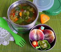 Tuscan Kale Vegetable Bean Soup Bento (sherimiya ) Tags: tomato soup yummy bean delicious homemade bento carrots thermal kale celery obento bloodorange lunchbots pickledcucumbers sherimiya happylittlebento