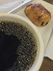 Coffee and Chocolate Croissant (austin.restaurants) Tags: ios8 iphone6 breakfast food iphone public urbanspoon 2015 february 12th 150212 thursday february12th img2588 location4points beveragecoffee pastrychocolatecroissant coffeehousestarbucks coffeehouse