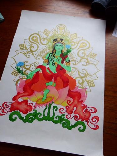 Green Tara Illustration 300 x 420 mm