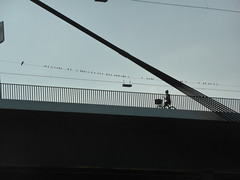 P1030771 (Skaldum) Tags: bridge urban bw bicycle graphic panasonic dusseldorf graphicphoto dmctz40