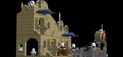 Lego Star Wars Project Mos Eisley Clone Troopers Battle Scene (bjrnschwarz) Tags: starwars lego xwing frigate speeder starship freighter tatooine droids ldd moseisley episodevii ebonhawk clonetroop