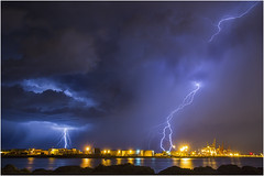 Fremantle Harbour lightning (beninfreo) Tags: blue storm canon purple harbour indianocean fork cranes perth lightning fremantle westernaustralia forked perthstorm 5d3