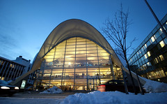 Fine architecture in Norway: the library in Troms (roomman) Tags: auto old winter light white snow cold art cars ice beautiful car weather norway architecture modern night contrast lights evening design movement automobile day bright snowy stripes library north stripe pass style atmosphere move arctic passing icy northern contrasts 2015 troms