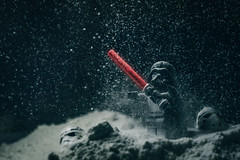 Darth Snow, Lord Commander. (pnkfd) Tags: blue sunset sky orange snow macro bird ice nature water landscape toy photography starwars darth stormtrooper vader lucasfilms