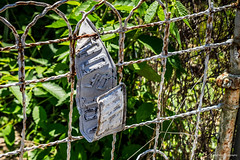 Beware (Jae at Wits End) Tags: old texture sign metal writing fence word rust message decay text letters rustic rusty objects pale wear faded worn signage oxidation weathered barrier boundary signboard corrosion bleached faint patina corroded oxidized discolored