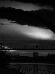 Suspended (northsky) Tags: bridge england sky people water clouds river evening couple stockton tees