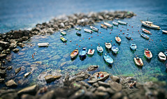 Sitting, Waiting, Wishing! (shane.taremi) Tags: travel blue people italy seascape blur color beach water swimming landscape boats rocks outdoor sunny terre vernazza cinque tiltshift greatphotographers