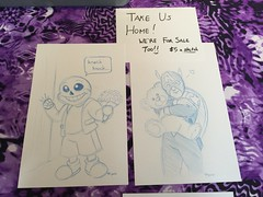 Sketch of Sans from Undertale and Captain America hugging a teddy bear (splinky9000) Tags: king con kingston sans undertale captain america teddy bear flowers marvel superhero video game door knock knocking public frontenac library