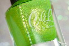 Colors by Llarowe x Nailland - The New Nude (+stamping) (www.lacqueredobsession.com) Tags: green art yellow glitter design neon nail polish stamping holographic cbl colouralike