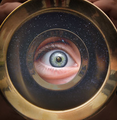 Eye to the Telescope (ShutterJack) Tags: face blue closeup constellation eye fibrovascular green iris lens longwayoff macro observation observe oculus open pigment pupil reflection scared soul space spy stare stars stroma study telesope view wide wideopen
