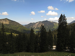 View from the Stmpfling (aniko e) Tags: trees mountains forest outdoors bayern bavaria spring hiking pines spruce spitzingsee stmpfling bayerischevoralpen bavarianprealps bodenscheid