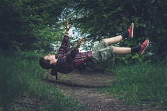 Rejected (KK Productions) Tags: trees boy portrait people green art fall nature beautiful beauty forest photomanipulation person young floating levitation manipulation falling