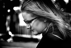 Light Breeze (Owen J Fitzpatrick) Tags: street city ireland people blackandwhite bw dublin woman white black green monochrome beautiful beauty face photography mono glasses j blackwhite nikon republic pavement candid profile social joe eire blonde use attractive only editorial owen unposed tamron spectacles visage chasing fitzpatrick ojf d3100 ojfitzpatrick