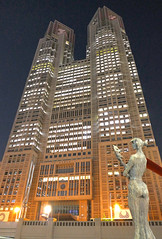 Tokyo Metropolitan Government Building and the statue3 (sapphire_rouge) Tags: sculpture moon statue japan night japanese tokyo shinjuku   nightview       tokyometropolitangoverment