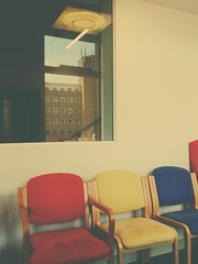 New and the Old QE2 (GOR44Photographic@Gmail.com) Tags: blue red reflection window yellow wall hospital chair phone ace samsung gor44