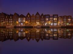 Haarlem shuffle (urbanexpl0rer) Tags: longexposure nightphotography houses haarlem water waterfront nightshot nederland thenetherlands
