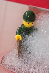 Foam Attack (Wayne Stiller) Tags: red man green hat lego bubbles foam penny macromondays