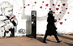 symphony of love (gregjack!) Tags: street uk red woman london hearts mural heart candid streetphotography brixton earphones