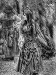 Somewhere in Time (clarkcg photography) Tags: blackandwhite woman oklahoma nikon antique candid streetphotography medieval aged renaissance maiden hdr damsel nikkorlens 1540s photomatrix femaie photoscape castleofmuskogee monochromemonday nikoncoolpixp100