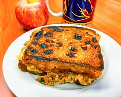 Toasted pulled pork sandwich (garydlum) Tags: caramelisedonion woden pork pulledpork canberra cheese raisintoast phillip australiancapitalterritory australia au