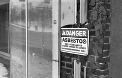 Asbestos (derekrstone) Tags: blackandwhite minolta rangefinder ishootfilm ilford fp4 akron urbanphotography asbestos filmphotography filmisnotdead shootfilmnotmegapixels staybrokeshootfilm hitmatic
