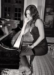 Broken Dreams... (DigitalLUX) Tags: light bw woman girl monochrome reflections dark pretty dress piano pensive romantic