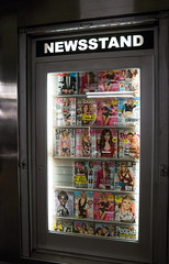 Newsstand (UrbanphotoZ) Tags: nyc newyorkcity people ny newyork naked subway cosmopolitan glamour display manhattan rockefellercenter midtown fluorescent newsstand westside magazines shape gq intouch womenshealth flatabs hotandconfident divorcebombshells howichangedmylife shemakesmeabetterman flatbellynow getleanfast slimstrongsexy