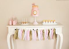 Birthday Dessert Table (KiwiMiriam) Tags: birthday pink white cake table gold cupcakes milk fuji celebration straws tassles xe2 cakepops