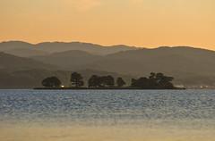 Yomegashima (Yohsuke_NIKON_Japan) Tags: sunset orange lake water japan island evening nikon bokeh dusk  shimane matsue shinji zoomlens 70200mm sanin lakeshinji     yomegashima d300s