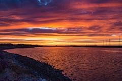 Summer Solstice Sunset (Jill Clardy) Tags: california city sunset red summer sky orange clouds fire bay san francisco power solstice redwood pylons slough redwoodcreek westpointslough 201606204b4a2927