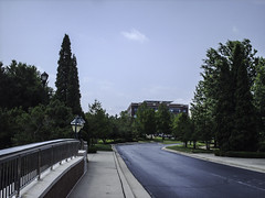 Driveway to Papa John's (EX22218 - ON/OFF) Tags: bridge building brick lamp architecture concrete post masonry