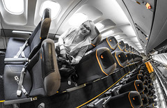 Seated Cabin area. Airbus A330. (CWhatPhotos) Tags: pictures above portrait woman holiday fish color colour eye colors june yellow digital plane that lens photography airport cabin colours foto view angle image artistic pics thomas interior cuba wide cook selection pic olympus 11 images aeroplane 330 fisheye have photographs coco photograph ii fotos seats airbus area coloring seating cuban docked which colouring mk a330 contain cayo select partial omd 2016 em10 cwhatphotos
