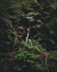 Thick as thieves. (gianteyephotography) Tags: up rock female forest dark sticks high model woods theatre indiana adventure greens ferns act throne bluff