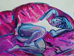 Girl on the sofa - messing around with #gouache  #painting #fineart #contemporaryart #girl #sofa #art #purple #artist #painter #figure (Emanuele Pavarotti) Tags: new york usa instagram iphone4s