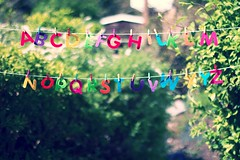 alphabet outtake in the garden (slightly everything) Tags: uk light england sunshine vintage creativity one spring rainbow europe bright letters retro line learning alphabet pegs katehiscock
