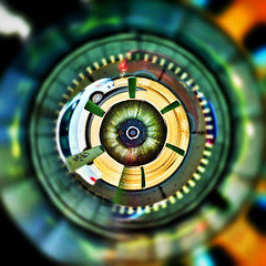 Traffic Planet (julieclarke572) Tags: max circle trimet photostream iphone whitecar tinyplanet