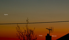 Jupiter, Venus, Mercury Triple Conjuction Closing in 22-05-13 (James Lennie) Tags: sunset panorama skyline canon photography venus mercury dusk astro devon astrophotography planet astronomy planetary nightsky jupiter dslr solarsystem northdevon conjunction canon600d canonf4l70200zoomlens