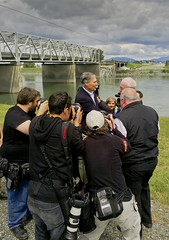 Governor Jay Inslee at site of Interstate 5 bridge collapse over the Skagit River (Puget Sound Energy) Tags: usa electric power unitedstates i5 failure governor wash collapse skagit pse gov skagitriver jayinslee pugetsoundenergy skagitriverbridge interstae5 governorinslee govinslee